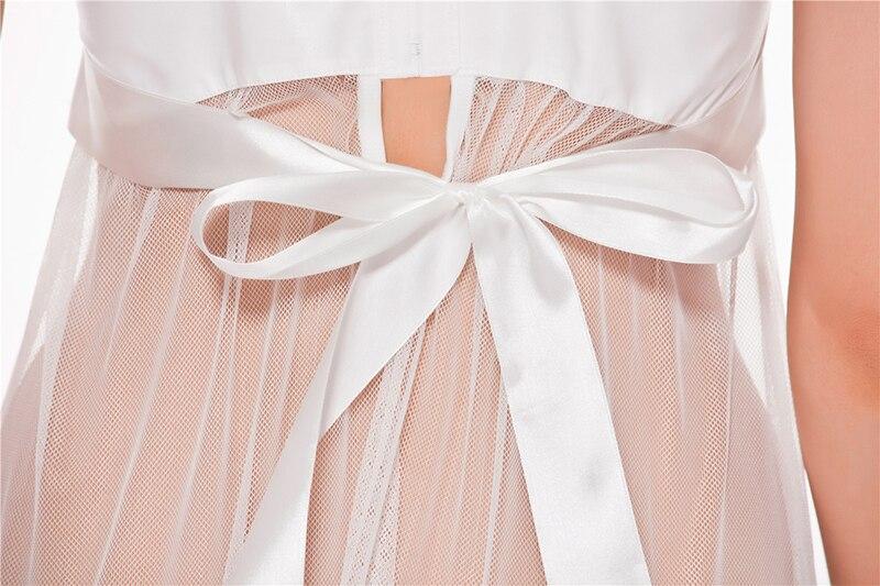 Satin Women Sexy Lingerie Hot Nightwear Sleepwear Nightie Negligee Nightgown Costume BabyDolls WHITE bridal lingerie in Babydolls Chemises from Novelty Special Use