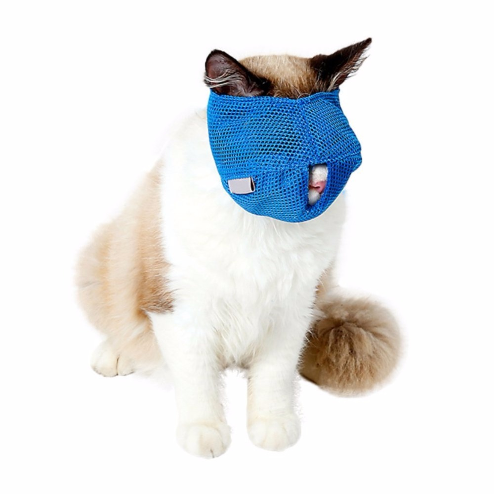 2018 New Breathable Mesh Cat Anti Bite Muzzles Cat Travel Tool Bath Beauty Grooming Supplies Cat Bathing Bag S/L Blue/Pink