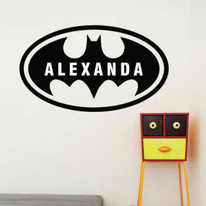 Home Decoration Batman Custom Name Bat Boys Room Wall Decal Removable Vinyl Boy Name Wall Sticker Decals Kids Room Mural AY1165