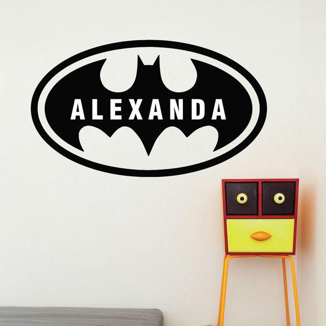 Home Decoration Batman Custom Name Bat Boys Room Wall Decal Removable Vinyl Boy Name Wall Sticker Decals Kids Room Mural AY1165