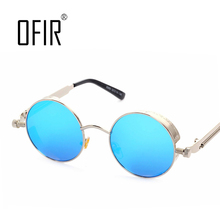 OFIR Gothic Steampunk Mens Sunglasses Coating Mirrored Sunglasses Round Circle Sun glasses Retro Vintage Gafas Masculino Sol