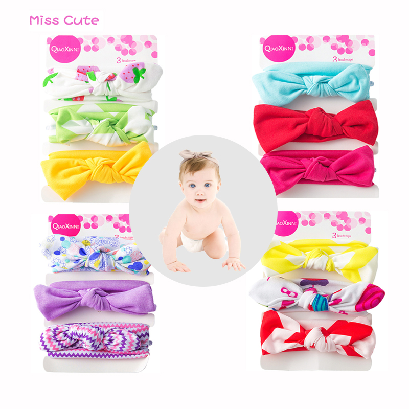 3pcs/set Elastic Baby Headbands For Girls Cotton Rabbit Ear Baby Headwear Newborn Cute Turban Bow Hairbands Infant Accessories