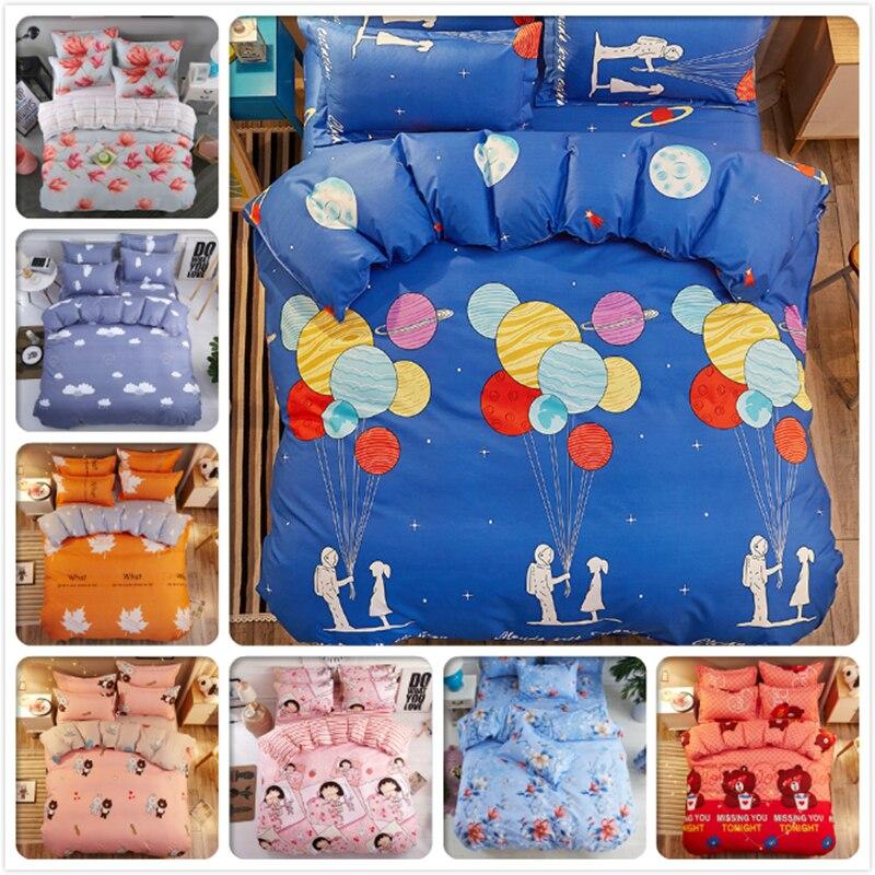 Kids Soft Cotton 3pcs/4pcs Bedding Sets Duvet Cover Quilt Pillow Case Bedsheet 1.2m 1.35m 1.5m 1.8m Single Queen Size Bed Linens