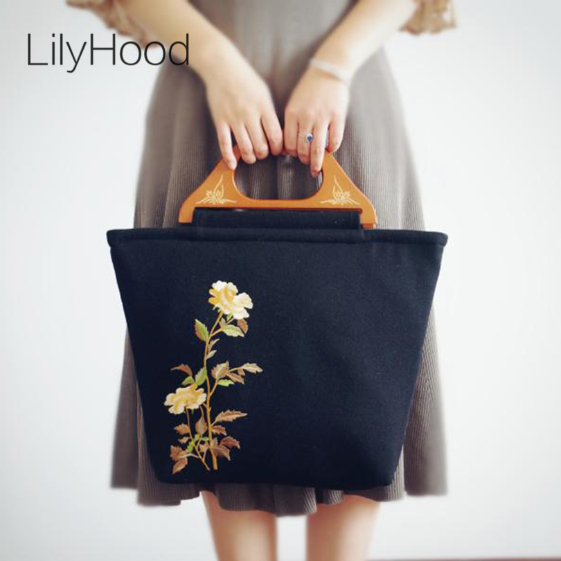 LilyHood Handmade Embroidery Wool Tote Bags Female Victorian Retro Shabby Chic Elegant Everyday Big Shopping Bag Mother Gift bbb