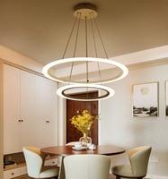 Modern Led lustre chandelier Acrylic Rings For Living Room Stainless Steel White Hanging Fixtures Adjustable Chandelier 85V 265V