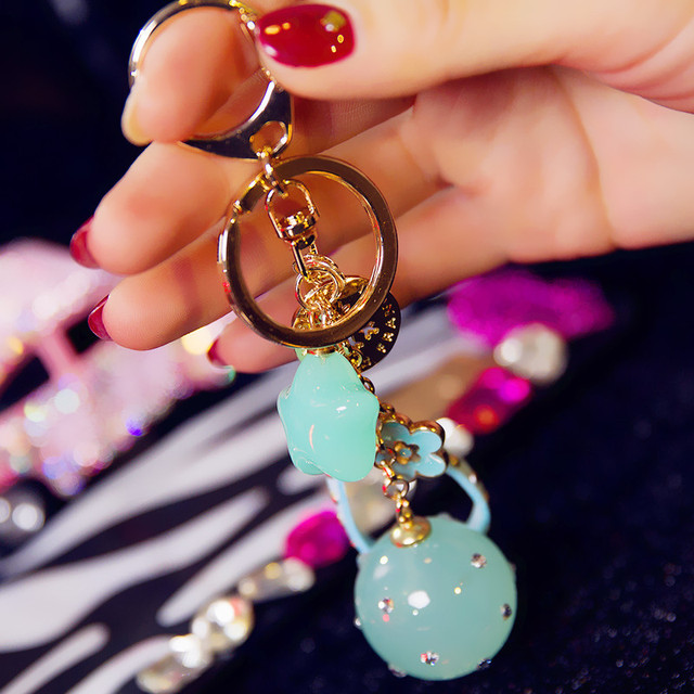 Five-pointed Star Car Keychain Jelly Color Acrylic Beads Key Chain Creative Birthday Gifts Key Ring Holder Bag Pendant B-KC10