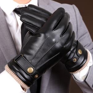 Image 1 - 2019 חדש הגעה סתיו Mens כפפות שחור חורף חם כפפות מגע מסך Windproof להתחמם נהיגה זכר עור מפוצל כפפות