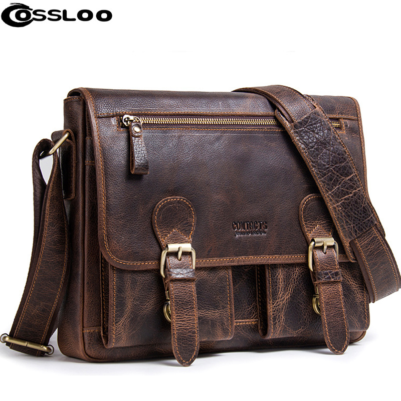 COSSLOO Men Genuine Leather mens bags Crossbody Bags Casual Totes Men Briefcases Laptop messenger bag shoulder bag handbags black genuine leather men bag laptop briefcases handbags men shoulder bag strap crossbody bags messenger bags men leather totes