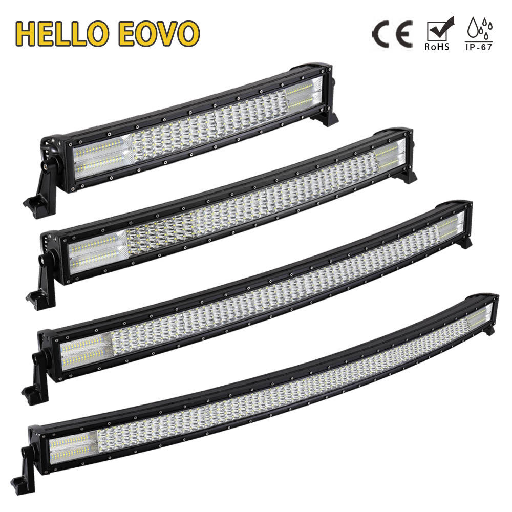 HELLO EOVO 22 32 42 52 inch Curved LED Light Bar for Work Indicators Driving Offroad Boat Car Tractor Truck 4x4 SUV ATV 12V 24V hello eovo 5d 32 inch curved led bar led light bar for driving offroad boat car tractor truck 4x4 suv atv with switch wiring kit