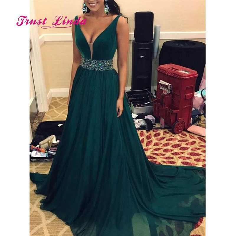a63e0005c1b ... Vestidos De длинное платье для матери невесты платье изумрудного цвета  Для женщин Свадебная вечеринка глубоким v ...
