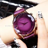 HK GUOU Brand Quartz Lady Watch Rhinestone Waterproof Women S Watch Genuine Leather Upscale Large Dial