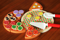 Children wooden pizza food kitchen toys game /assemble Cut pizza food for Kids and Child learning educational toys, 1pc/pack
