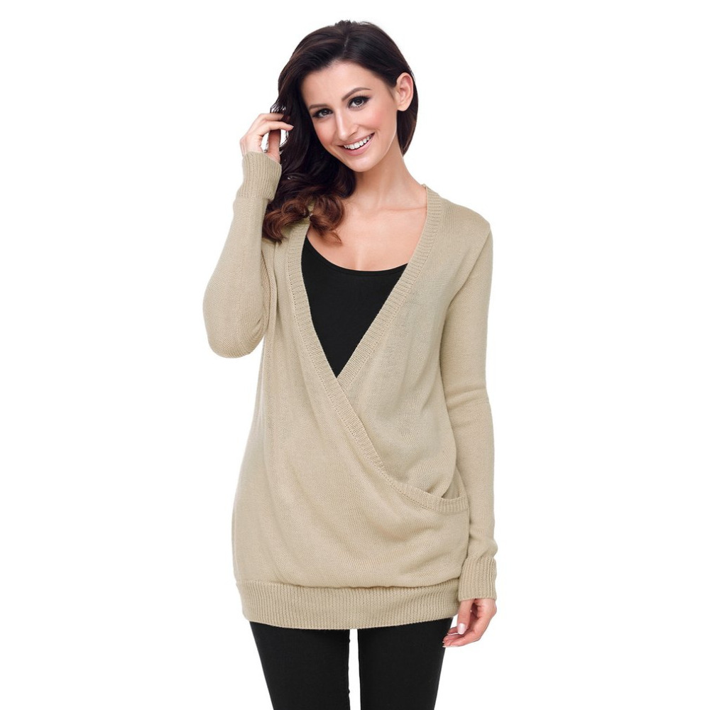 New Spring Women Deep V-Neck Thin Sweater Fashionable Design Long Sleeve Thermal Pullover Tops All Match Clothes Pullovers 2018