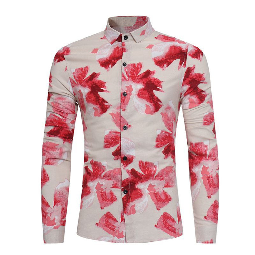 Red Flower Blouse China Art Ink Paint Style Men Shirts Long Sleeve