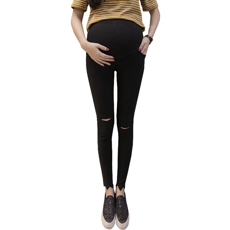 Hole Strench Maternity Pants For Pregnant Women Clothes Nursing Pregnancy Pencil Pants Legging Gravidas Trousers Clothing Spring
