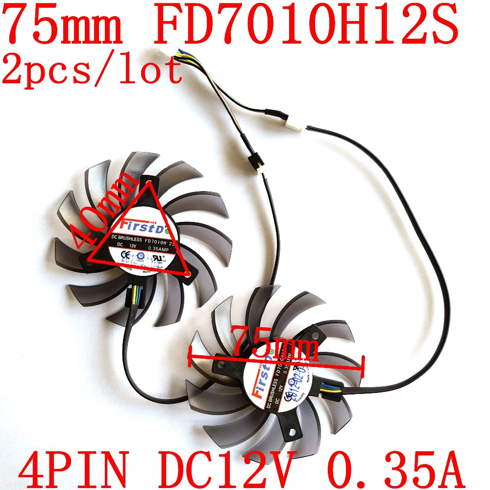 Penggantian Kipas Laptop Firstd FD7010H12S 75mm 4Pin 12 V 0.35A untuk Kartu Video Grafis MSI R6790 Twin Frozr II 2 pcs / lot