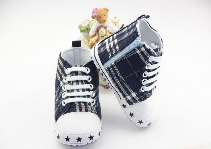 Hot Baby Girl Boy Plaid Shoes Toddler Prewalker Soft Bottom Grip shoes Infant One Side Zipper Shoes Boots