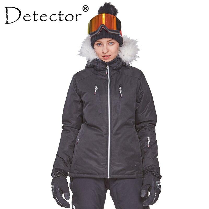 Detector Women's Winter Ski Snowboard Jacket Outdoor Ski Clothing Women Waterproof Windproof Fur Coat Warm Clothes