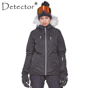 Detector Women's Winter Ski Snowboard Jacket Outdoor Ski Clothing Women Waterproof Windproof Fur Coat Warm Clothes gsou snow brand ski jacket men snowboard jacket waterproof fur hooded outdoor skiing suit windproof sport clothing winter coat