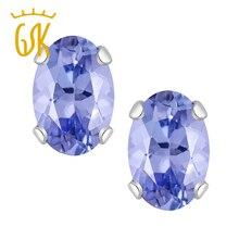 GemStoneKing Real 14K Fine Jewelry Stud earrings 1.00 Ct AAA Oval 6X4mm Blue Natural Tanzanite fashion Stud Earrings For Women