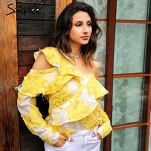 Simplee Cold shoulder blouse shirt women tops Summer cotton blouses chemise Yellow ruffle striped long sleeve shirt women tops(China)