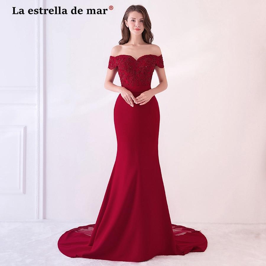 La estrella de mar robe rose demoiselle d'honneur2018 lace Boat NeckShort sleeve sexy mermaid burgundy   bridesmaid     dresses   long