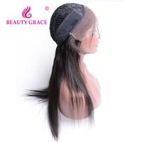 Beauty Grace Brazilian Straight Hair Glueless Pre Plucked Human Hair Lace Front Wigs Black Women With