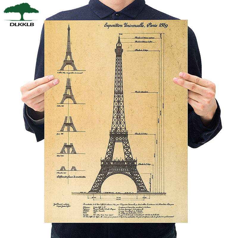 Dlkklb Retro Kraft Paper Poster Hand Drawn Sketches Paris Tower Wall Stickers Bar Cafe Home Decorative Paintings 51.5x36cm