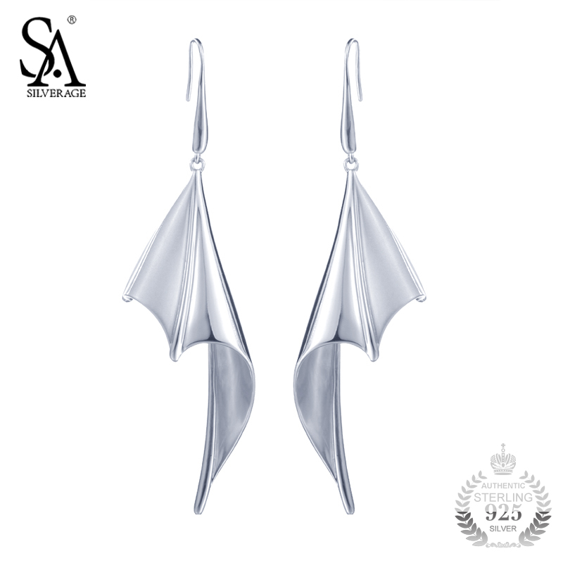 SA SILVERAGE 925 Sterling Silver Jewelry Earrings Drop Bat Wings Real Silver Jewelry Earrings Women Party Gift silver wings silver wings кольцо 210503 r sa 06