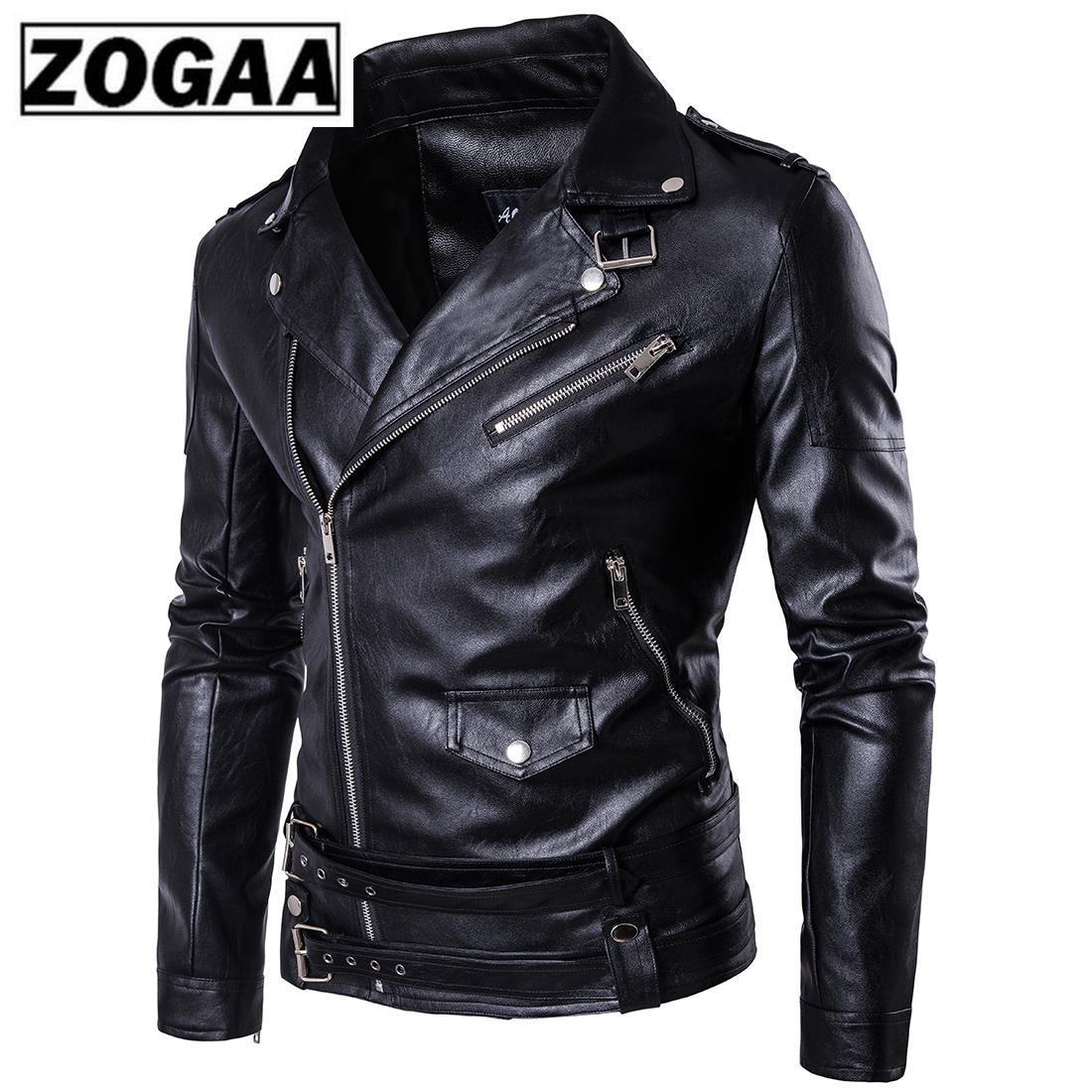 Motorcycle Leather Jacket Classic Design Multi Zippers Men's Locomotive Jackets Bomber Leather Jacket Coat Windbreaker Eur Size