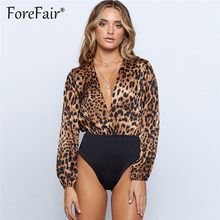 Forefair Body Leopard Bodysuit Women Winter Long Sleeve Tops Rompers Womens Jumpsuits 2018 Deep V Neck Sexy Bodysuit(China)