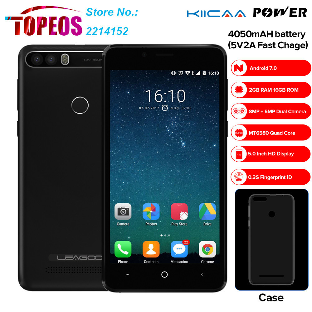 WCDMA 3G Leagoo KIICAA POWER Smartphone 5.0 INCH Android 7.0 MTK6580 Quad Core 2G 16GB Fingerprint 8MP 4000mah Mobile Phone