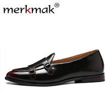 1c0035434 Homens Mocassins Sapatos De Couro Requintado Merkmak Para O Homem de Negócios  Vestido Sapatos Elegantes Sapatos Da Moda Apartame.