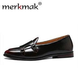Merkmak homens mocassins couro requintado sapatos para o homem vestido de negócios sapatos elegantes sapatos moda masculina apartamentos tamanho grande 37-48