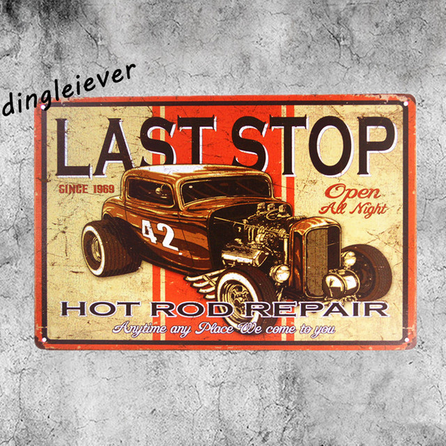 Last Stop Vintage Metal Sign Home Decor Hot Rod Posters Antique Tray Garage Wall Art House