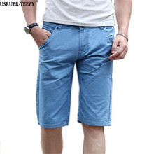 USRUER-YEEZY 2017 Summer Casual Shorts Slim Fit Solid Cotton Knee Length Mens Shorts Sweatpants Fitness Bermuda Beach Shorts Men