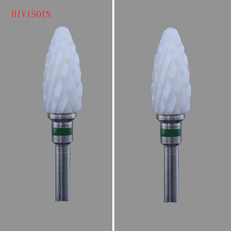 2Pcs/Lot  White Zirconia Ceramic Dental Lab Burs - Bullet Shape - Cross Cut XC (4301.060)