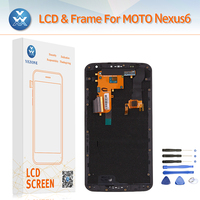 100 Original Super AMOLED Screen For Motorola Moto Nexus 6 LCD Display Touch Digitizer Frame Complete
