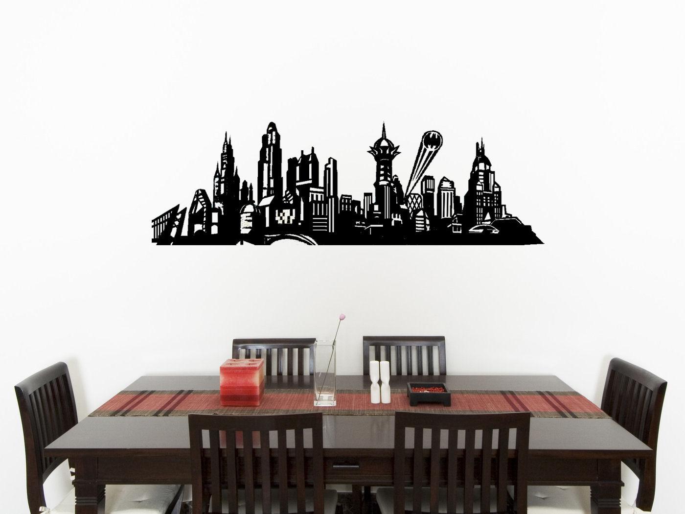 Gotham City Skyline Batman Children's Bedroom Decal Wall Sticker Picture Poster
