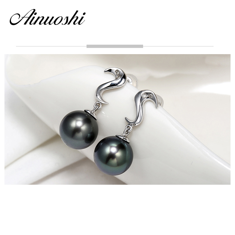 AINUOSHI 925 Sterling Silver Push Back Earrings 9mm Natural South Sea Black Tahiti Pearl Round Pearl Engagement Earrings Gift ainuoshi 925 sterling silver leaves shaped pearl earrings 9 5 10mm natural tahitian black pearl round pearl lover stud earrings