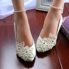 Good Quality Romantic Shoes With A Surprise Flat Sweet Pearl Ankle Chain Pearl Flower White Princess Birdal Wedding Party Shoes