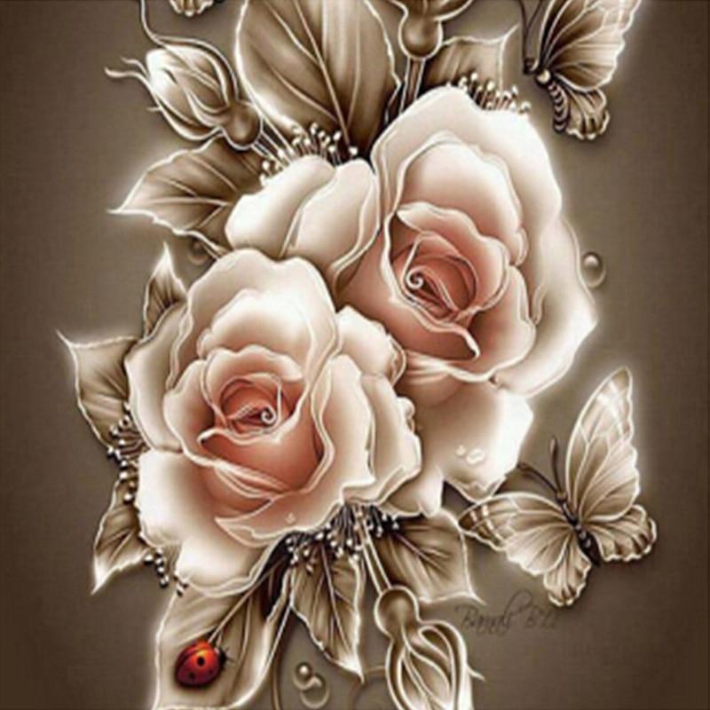 5D DIY deimantinis dažymas gėlė dekoratyvinis tapyba rožė - Menai, amatai ir siuvimas - Nuotrauka 2