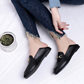 2017 Spring Leather Flat Heel Shoes Square Toe Metal Chain Slippers Young Lady Casual Flats Loafers Women Drive Shoes