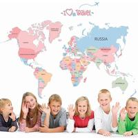 Colorful World Map Wall Sticker Decal Vinyl Animal Cartoon Wall Stickers For Kids Rooms Nursery Home