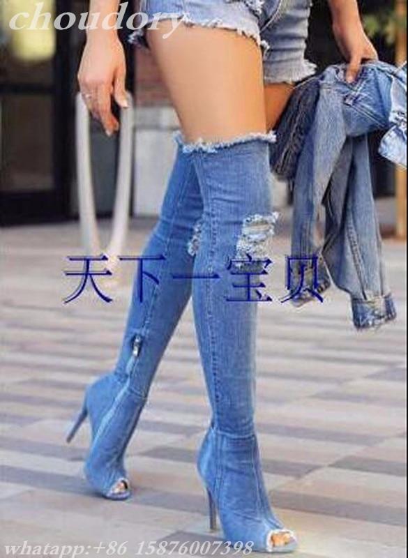 New Arrival Women Boots Jeans Peep Toe Denim Over Knee Booties Long Blue Hole Thigh High Women Boots Thin High Heel Open Toe Hot