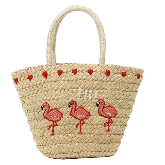 2018 Embroidery Women s Handbag Large Straw Shoulder Bag Flamingo Summer  Beach Bags Big Tote Woven Bag dba5408ecf