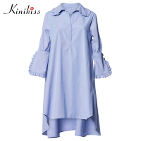 Kinikiss 2017 Women Blue Asymmetrical Casual Dress Solid Turn Down Collar Ruffles Plus Size Summer Dress