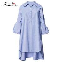 Kinikiss 2017 mulheres azul casual vestido assimétrico sólida desligar babados colarinho plus size vestido de verão moda casual vestidos