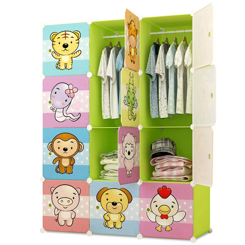 DIY Closet Plastic Clothes Wardrobe Closet Cute Children Wardrobe Apparel  Cap Storage Assembled Wardrobe Furniture Cabinets