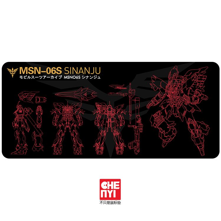 Mechanical keyboard Mousepad Gundam msn 06s Unicorn EXIA Sinanju rx 0 gn 001 900 400 4mm non Stitched Edges /Rubber High quality(China)